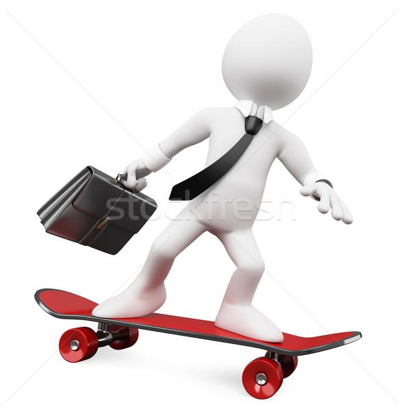 3D Geschäftsmann Arbeit Skateboard gerendert groß Stock foto © texelart