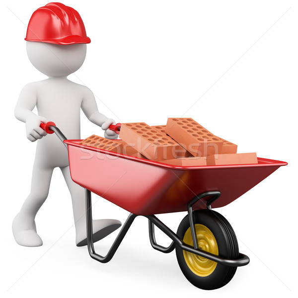 3D worker pushing a wheelbarrow with bricks Stock photo © texelart