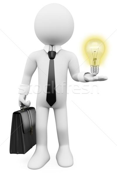 3D business white people. Idea bulb Stock photo © texelart