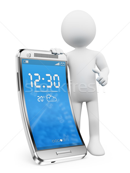 3D white people. New technologies. Flexible screen smartphone Stock photo © texelart