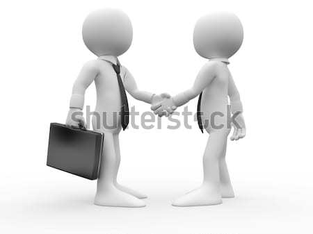 3D white people. Men closing a deal. Betray in business Stock photo © texelart