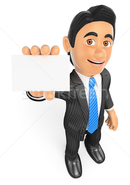3D Businessman showing a blank card Stock photo © texelart