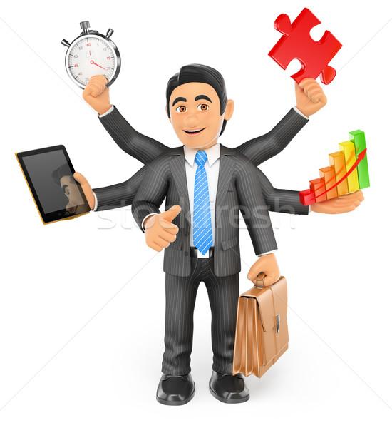 3D üzletember multitaszking hüvelykujj felfelé üzletemberek Stock fotó © texelart