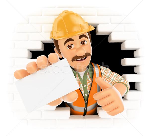 3D работник из стены дыра пустую карту Сток-фото © texelart