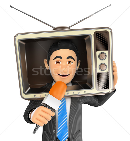 3D Reporter with a vintage television in the head and microphone Stock photo © texelart