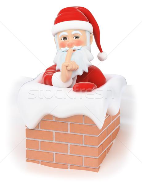 3D Święty mikołaj domu komin christmas ludzi Zdjęcia stock © texelart