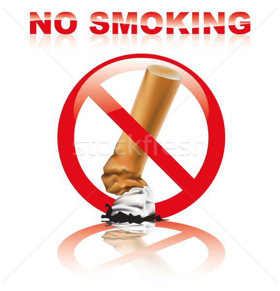 Dohányozni tilos felirat valósághű cigaretta tükröződés füst Stock fotó © TheModernCanvas