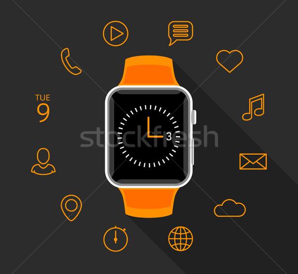 Nowoczesne pomarańczowy app ikona szary smart Zdjęcia stock © TheModernCanvas