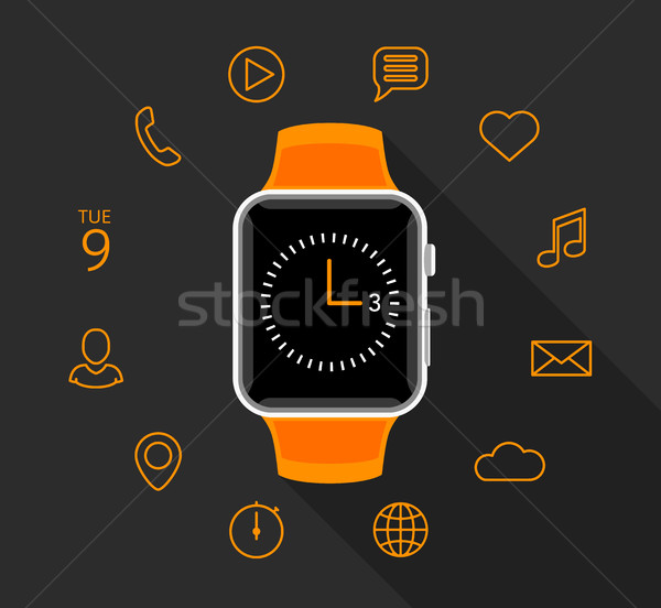 Modern flat orange smartwatch with app icons on grey background Stock photo © TheModernCanvas