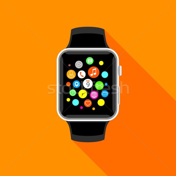 Trendy smartwatch with app icons, flat orrange design. Stock photo © TheModernCanvas