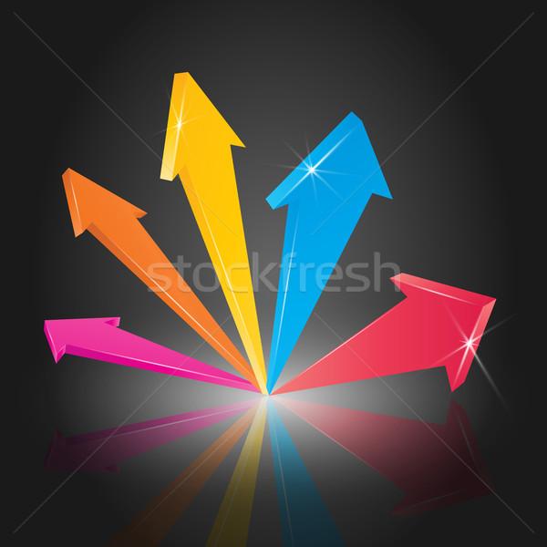 Renkli 3D oklar ok işaret yukarı Stok fotoğraf © TheModernCanvas