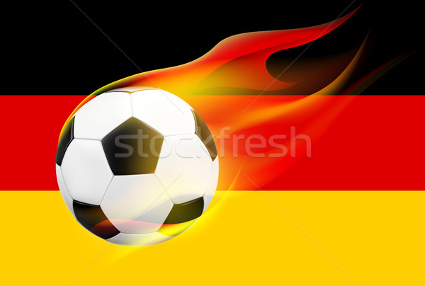 Realistic flying soccer football with hot flames on German flag background. Stock photo © TheModernCanvas