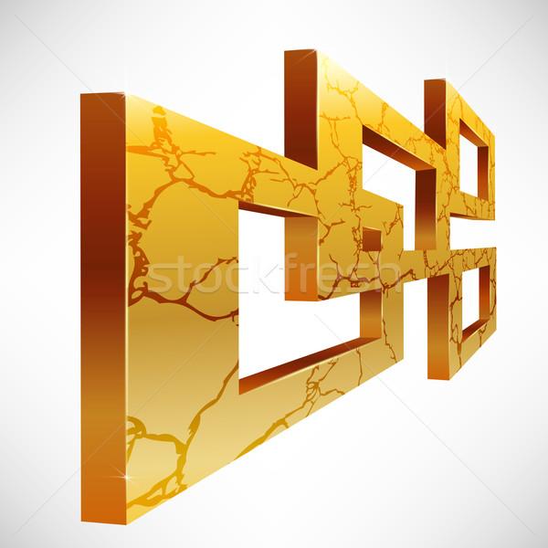 Soyut 3D kare kareler altın kırık Stok fotoğraf © TheModernCanvas
