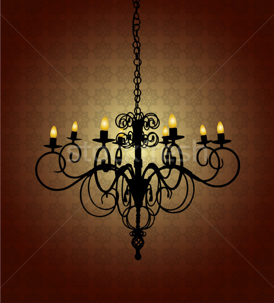 Lampadario buio stanza damasco wallpaper lampada Foto d'archivio © TheModernCanvas
