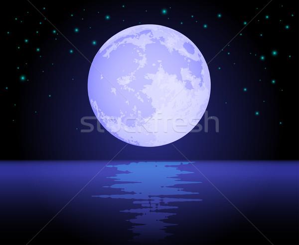 Lune océan nuit eau étoiles Photo stock © TheModernCanvas