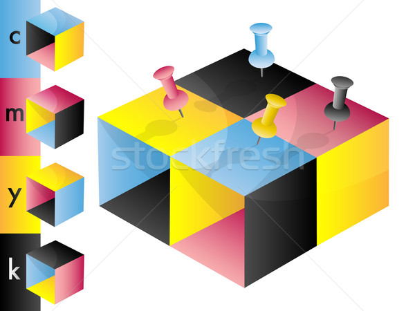 CMYK cubes with pins Stock photo © TheModernCanvas