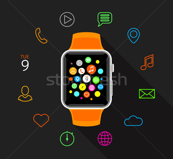 Modern narancs színes app ikonok szürke Stock fotó © TheModernCanvas