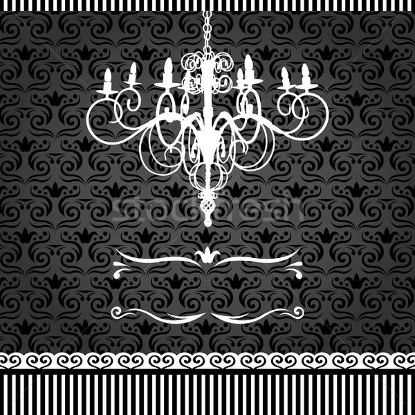 Klasszikus kártya csillár damaszt terv fekete Stock fotó © TheModernCanvas