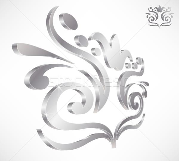 Izolált 3D damaszt ikon elegáns króm Stock fotó © TheModernCanvas