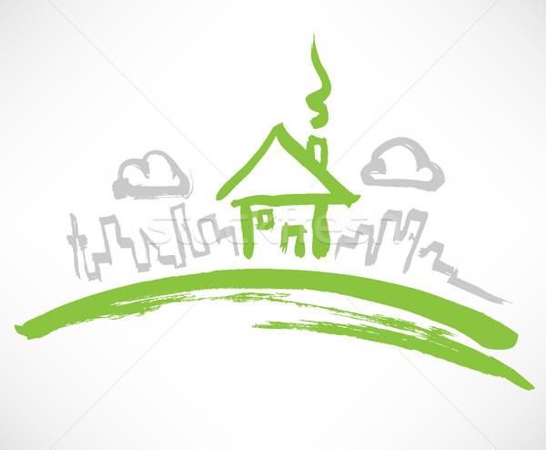 Kicsi üvegház magányos domb ház otthon Stock fotó © TheModernCanvas