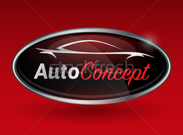 Concept logo with chrome badge of sports car vehicle silhouette Stock photo © TheModernCanvas