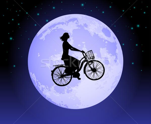 Büyü bisiklet kadın bisiklete binme geçmiş ay Stok fotoğraf © TheModernCanvas