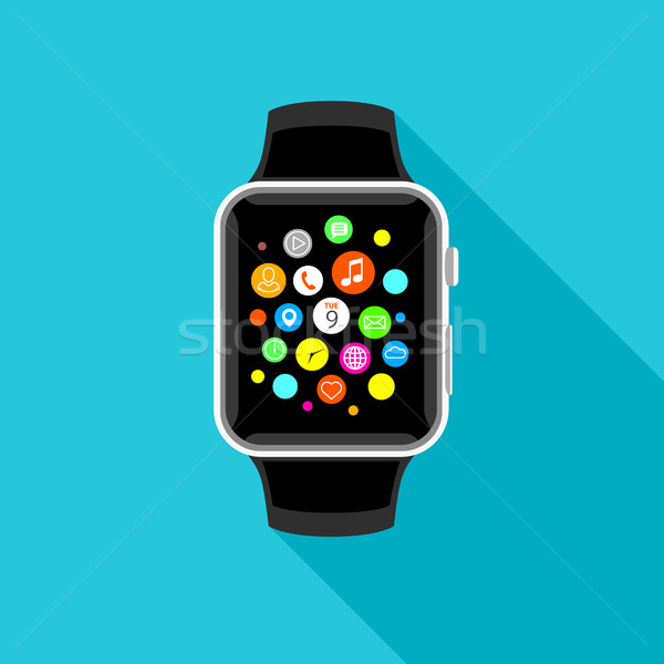 Trendy smartwatch with app icons, flat light blue design. Stock photo © TheModernCanvas