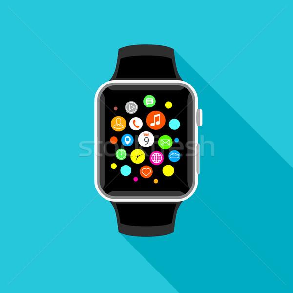 Stock fotó: Trendi · app · ikonok · világoskék · terv · modern