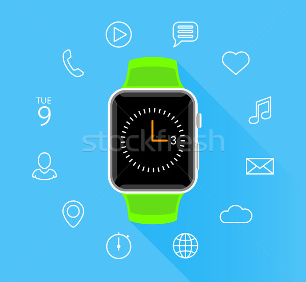 Modern flat green smartwatch with app icons on blue background Stock photo © TheModernCanvas