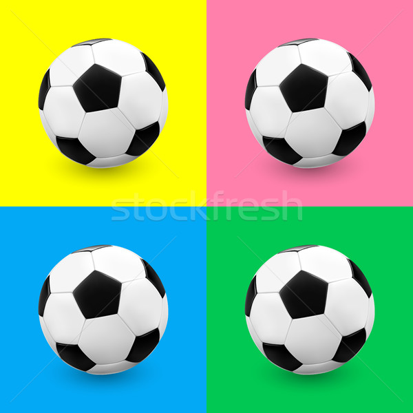 Soccer ball / football set on colorful backgrounds. Stock photo © TheModernCanvas
