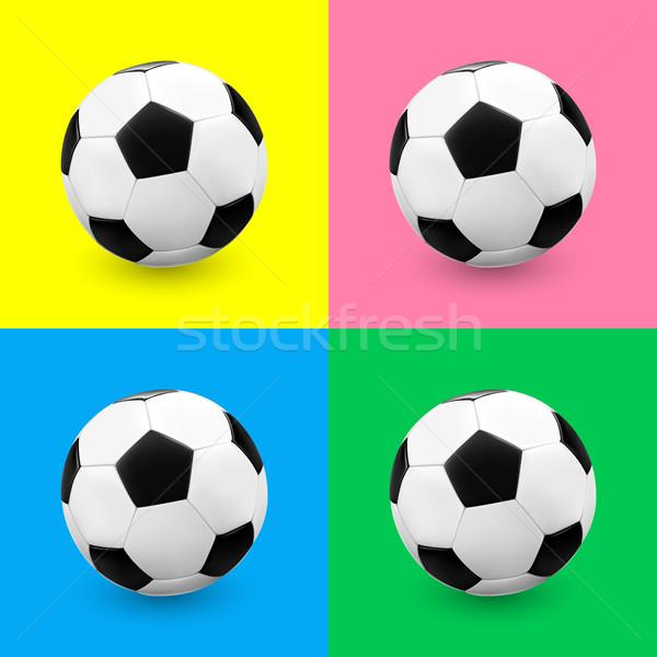 Futbol topu futbol ayarlamak renkli arka yeşil Stok fotoğraf © TheModernCanvas