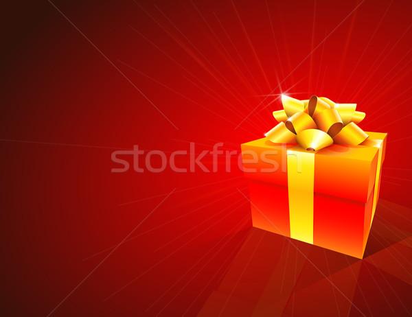 Piros ajándék doboz arany íj absztrakt háttér Stock fotó © TheModernCanvas