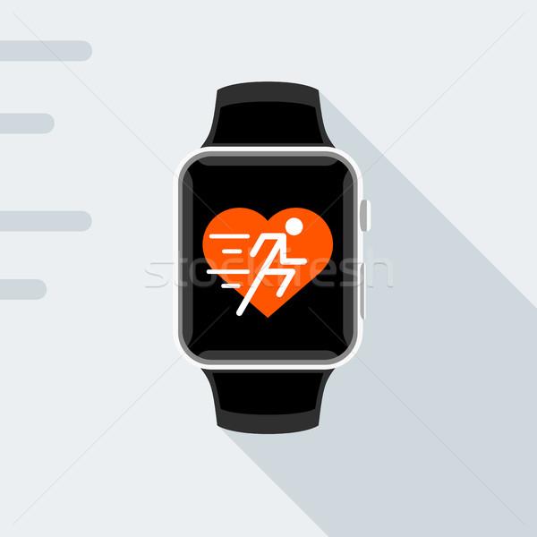 Stock fotó: Terv · modern · okos · óra · fitnessz · app