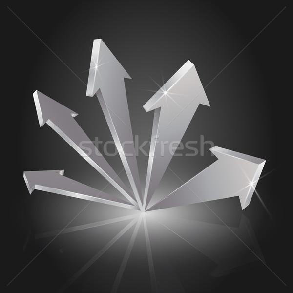 Fémes 3D nyilak mutat felfelé eps10 Stock fotó © TheModernCanvas