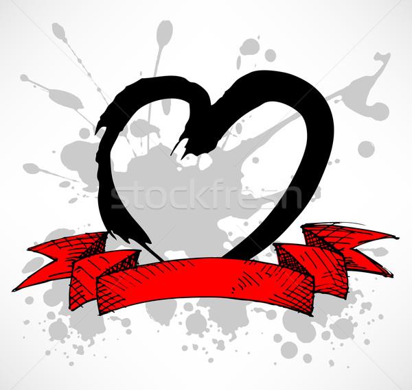 Grunge stílus szív piros folt szalag Stock fotó © TheModernCanvas