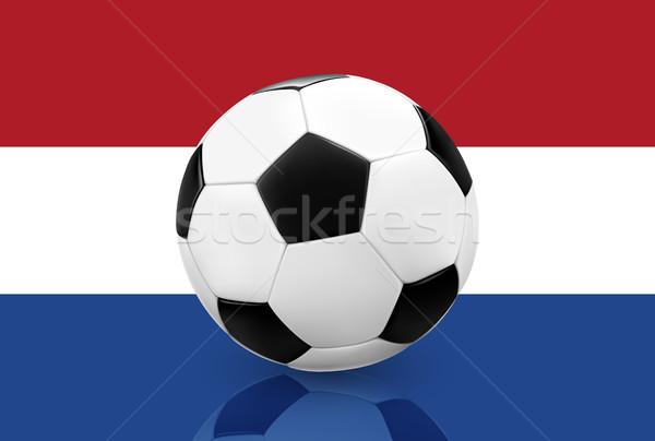 Valósághű futball futball Hollandia zászló futballabda Stock fotó © TheModernCanvas