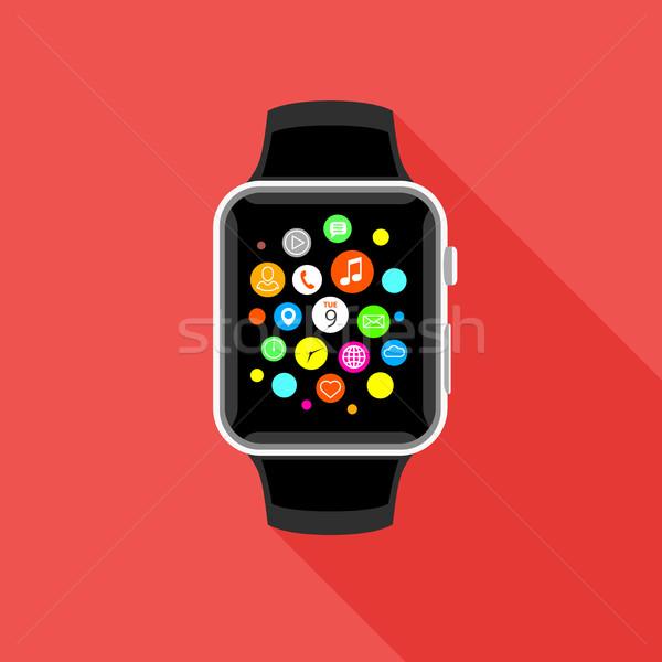Stock fotó: Trendi · app · ikonok · piros · terv · modern