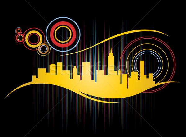 Retro városkép funky terv absztrakt sziluett Stock fotó © TheModernCanvas