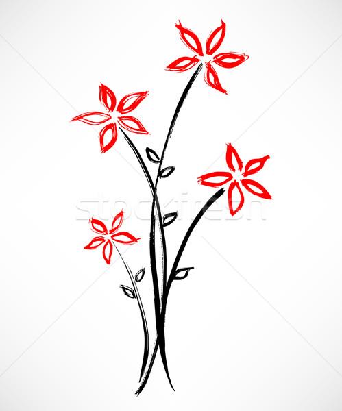 Stock fotó: Virág · festmény · gyönyörű · terv · háttér · tinta