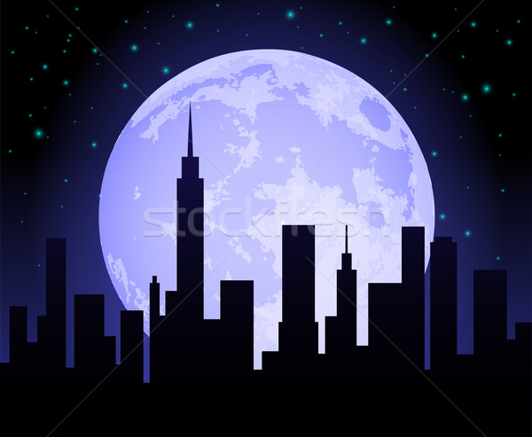 Nacht Silhouette city night Mond Aufgang Stock foto © TheModernCanvas