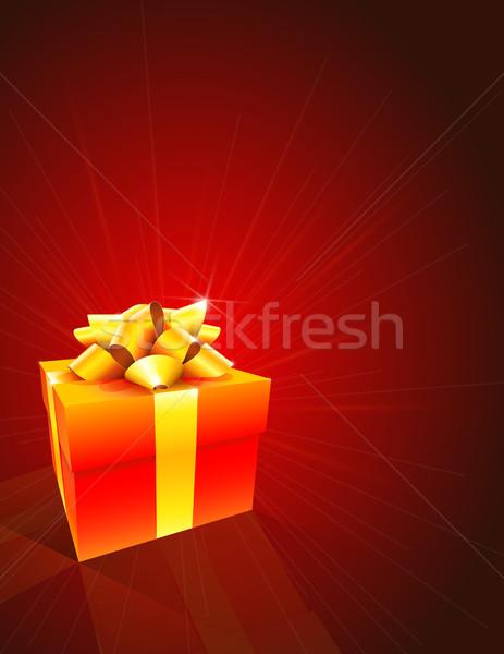 Hediye kutusu kırmızı bo arka plan kutu beyaz Stok fotoğraf © TheModernCanvas