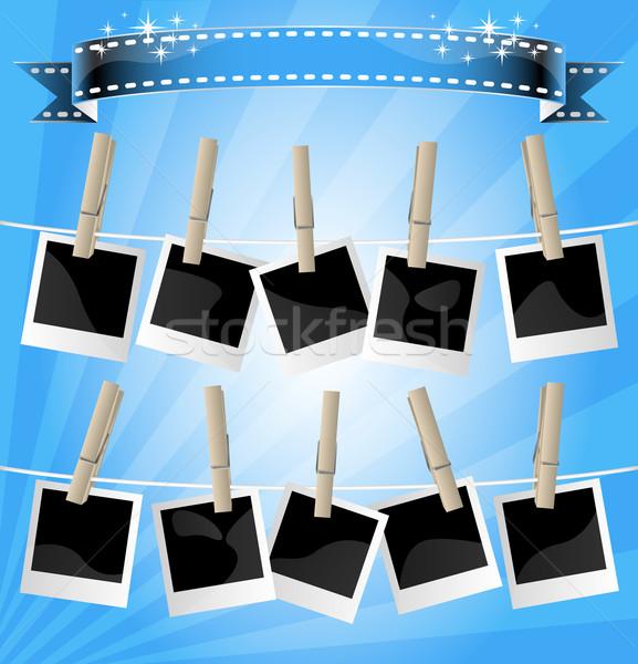 Fényképalbum kirakat kék szalag terv szoba Stock fotó © TheModernCanvas