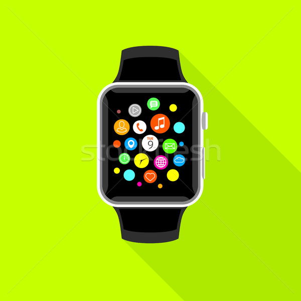 Trendy smartwatch with app icons, flat yellow design. Stock photo © TheModernCanvas