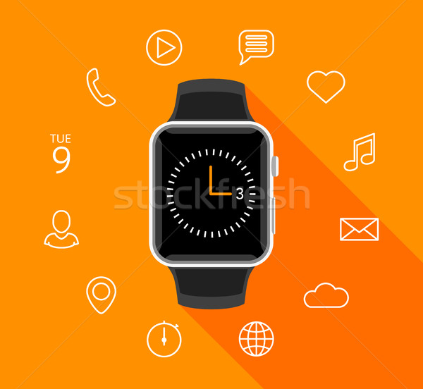 Modern flat smartwatch with app icons on orange background Stock photo © TheModernCanvas