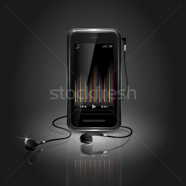 Cep telefonu oynama müzik ekolayzer kulaklık iş Stok fotoğraf © TheModernCanvas