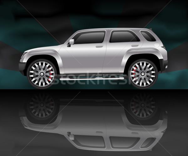 Srebrny sportowe użyteczność pojazd refleksji czarny Zdjęcia stock © TheModernCanvas
