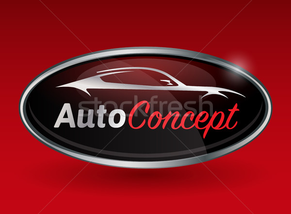 Concept logo design with chrome badge of sports vehicle silhouette Stock photo © TheModernCanvas