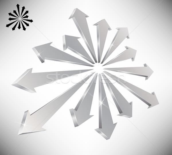 3D mutat nyilak szimbolikus csapatmunka egység Stock fotó © TheModernCanvas
