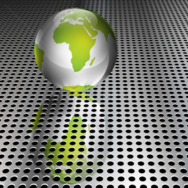 Metallic Green Globe on Chrome Grid Stock photo © TheModernCanvas