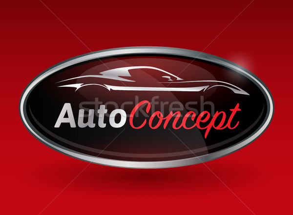 логотип хром Знак Спортивный автомобиль автомобиль силуэта Сток-фото © TheModernCanvas